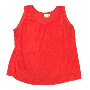 Vintage 1970's fuzzy tank top women's 40 red